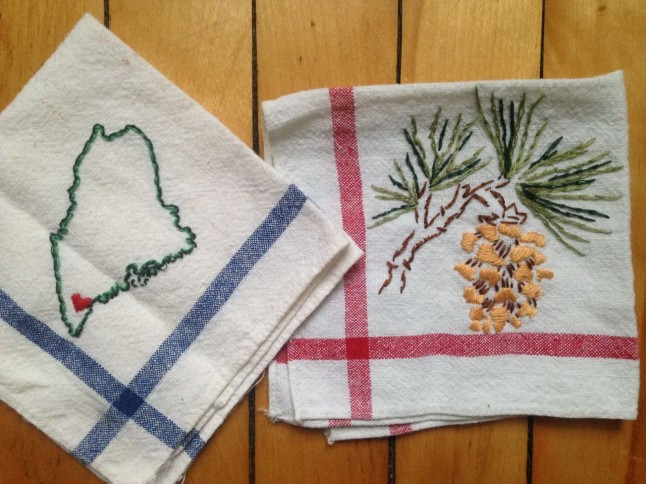 Embroidery: State of Maine and Pinecone