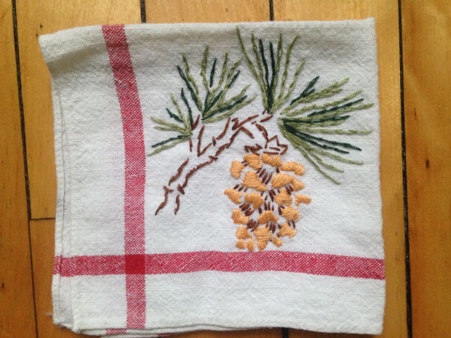 Pinecone Embroidery: State of Maine Flower