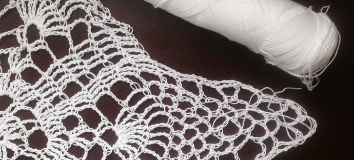 Crochet Pineapple Doily in Progress