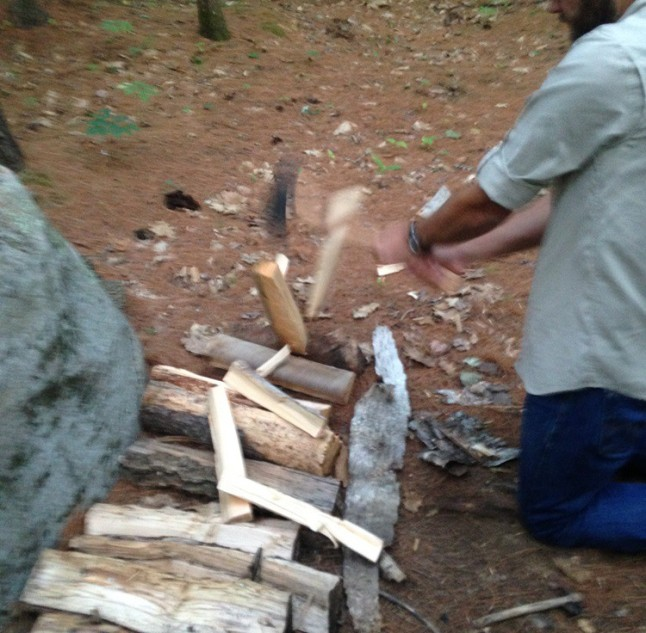 Splitting wood safely with a Gransfors Bruks small forestry axe