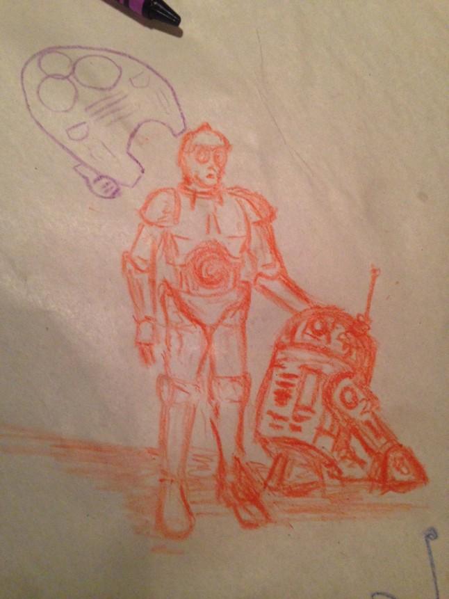See Threepio and Artoo Detoo in orange crayon