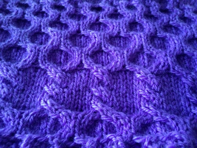 Bumble Berry Cabled Cowl Angle View