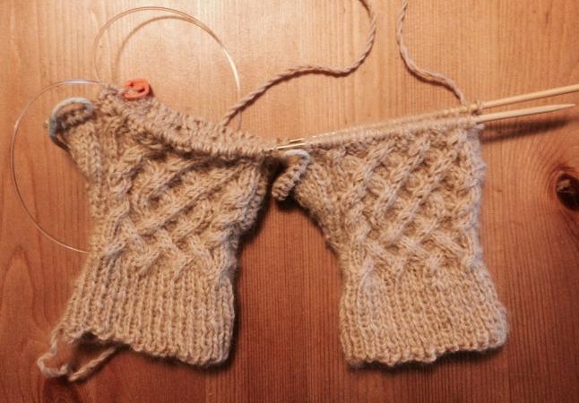 Magic Loop Knit Fingerless Gloves