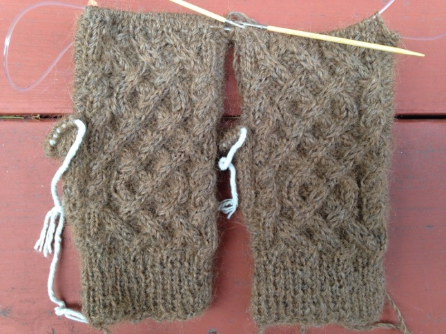 First Snow Fingerless Cabled Gloves