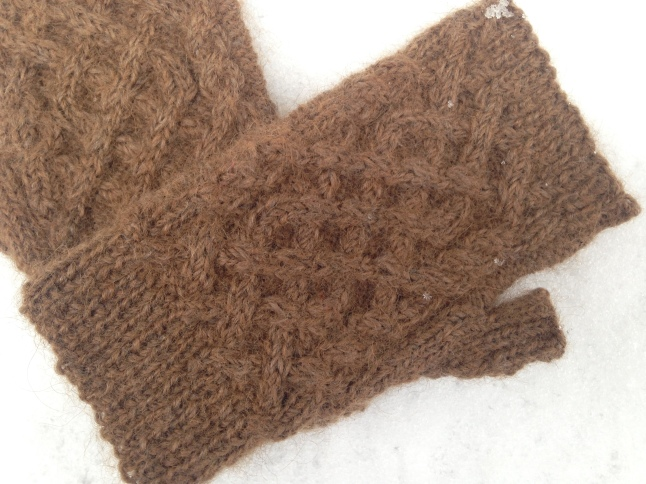 Dark Brown First Snow Fingerless Mitts