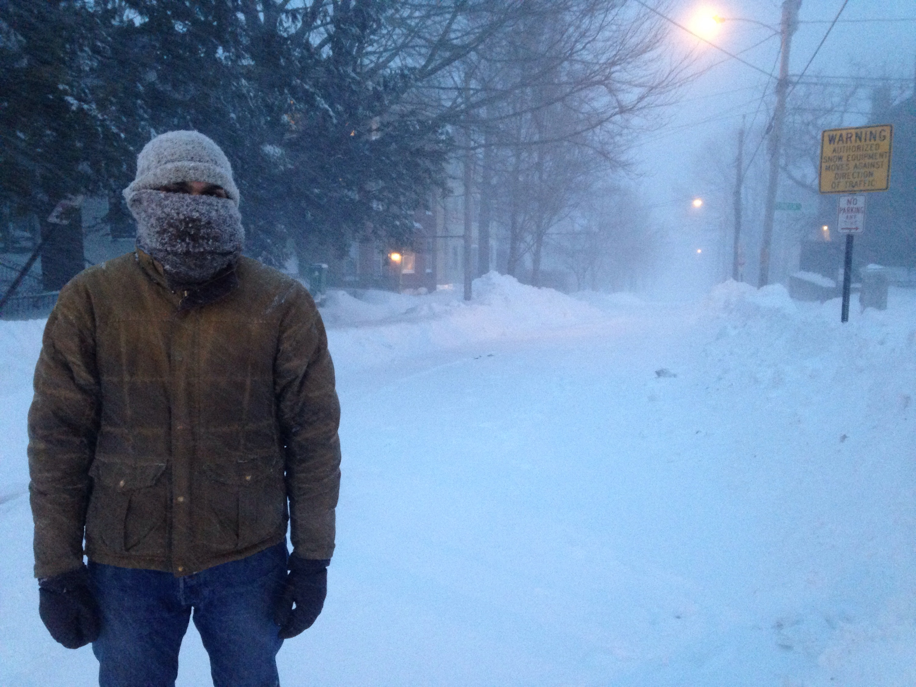 Blizzard Juno hits Portland Maine, and the bearded fellow is ready with warm woolen knits.
