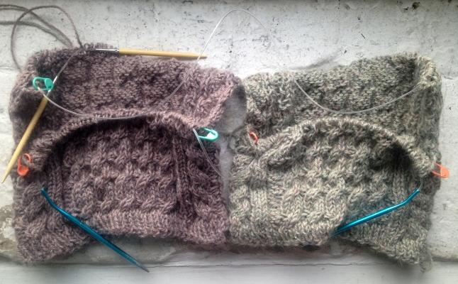 Magic loop method two baby sweaters alpaca Eastport yarn